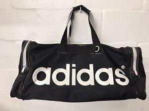 VTG Adidas Gym Bag - Black and White - Sports Duffle D Ring Clip