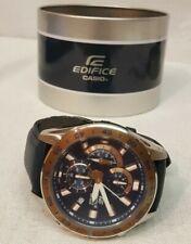 Casio Edifice Chronograph Quartz Men's Watch w/Black Leather Band **