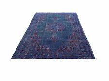 "6'10"" x 3'11"" COLOR REFORM  Vintage Dark midnight blue red Overdyed carpet rug"