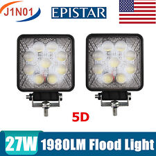 2X27W Flood Square Offroad Fog DRL SUV Truck  LED Work Light Bar Boat 5D Optical