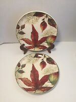 Pier 1 ASHEVILLE Set Of 2 Salad Dessert Appetizer Plates Fall Leaves AUTUMN