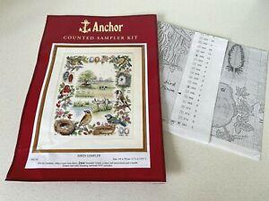 Anchor PSC52 Birds Counted Sampler Cross Stitch Chart & Threads - No AIDA