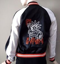"Coach Women's X Keith Haring Black/Chalk ""Liberty"" Souvenir Jacket F18027 Sz M"