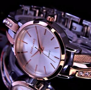 Excellanc Damen Armband Frauen Uhr Rose Gold Silber Farben Strass GE004