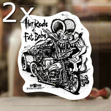 """2x pieces Hot Rods & Fat Bobs Rat Fink sticker decal Ed Roth hot rod MOON 4.5"""""""