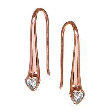 Rose Gold Flashed Sterling Silver CZ Heart Elongated Teardrop Hook Earrings