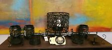 LOT: Yankee Candle Black Scroll Collection. Jar/Tealight/Votive Holders & Topper