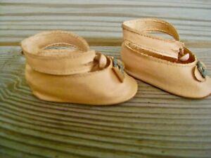 "Vintage shoes oil cloth center button ankle straps 4 18"" compo Shirley temple"