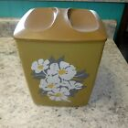 Vintage Retro Avocado Brown Plastic Floral Flowers Canister Psychedelic Containe