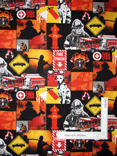 Fireman Fire Truck 911 Emergency Cotton Fabric 25841 Springs 21 Inches Length