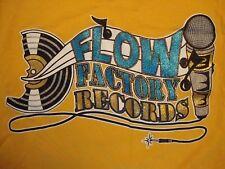 Flow Factory Records Hip Hop Rap Souvenir Yellow Cotton T Shirt Size XL