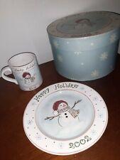 NEW MWW Market Box Set Commemorative Snowman Plate & Cup~ 2002 Happy Holidays
