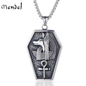 MENDEL Mens Stainless Steel Egyptian Ankh Cross Anubis Pendant Necklace For Men