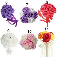GI- ALS_ 1 Bouquet 7 Heads Bridal Artificial Foam Rose Flowers Wedding Party Dec