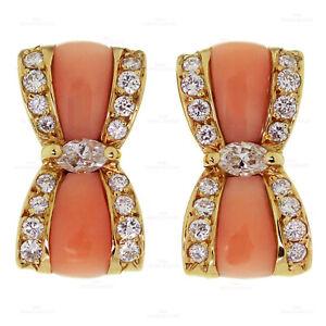 VAN CLEEF & ARPELS Diamond Pink Coral 18k Yellow Gold Bow Earrings