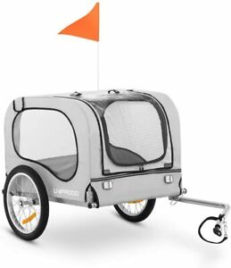 Uniprodo Pet Bicycle Trailer Bike Dog Polyester Cover 3 Windows Steel Frame