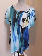 women size L APT 9 Aqua Blue Floral Blouse T-shirt Green Silver STuds EXCELLENT