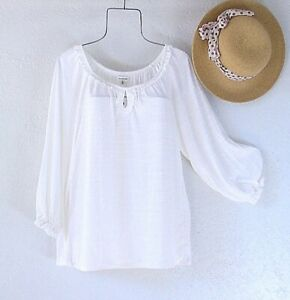 New~$68~White Peasant Blouse Ruffle Shirt Textured Spring Boho Top~Size Large L