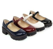 New Fashion Women Round Toe Buckle Strap Mary Janes Oxfords Pumps College Shoes