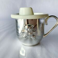Vintage Sheridan Silver plated Baby Sippy Cup Top Teddy Bear w/ Handle