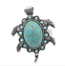Stylish Jewelry Crystal Tibetan Silver Turquoise Sea turtle Ring Adjustable