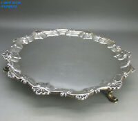 ANTIQUE GEORGIAN NICE SOLID STERLING SILVER WAITER SALVER TRAY I.C LONDON 1769