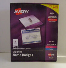Avery 74541 Name Badge Holder Kit Laser Injet 3 in x 4 in 100 badges with clips
