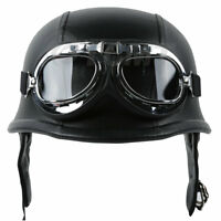 DOT Motorcycle German PU Leather Half Face Helmet With Pilot Goggles M L XL Size