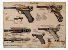 *NICE German Luger Poster Parabellum P08 Manual Print WW2 1941 Artwork Nazi Buy!