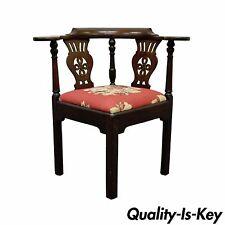 Antique 19th C Georgian English Irish Mahogany Needlepoint Seat Corner Arm Chair