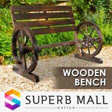 Outdoor Wooden Dec Park Bench Garden Decoration Seat Wheel Patio Armrests