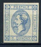 Italien Königreich 1863 Sass. 12 Postfrisch 100% 15 C Blau Vitt Emanuele II
