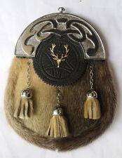 Men's Scottish Full Dress Kilt Sporran Seal Skin Celtic Cantle StagHead/Highland