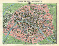 1920 Map Paris Versailles Monuments Vintage Wall Poster Office Home School Print