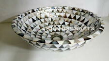 """12"""" Black & White Mother Of Pearl Wash Basin/Sink with Living Room Decor Gifts"""