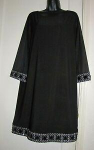 USA Tiana B women dress 60's-style Embellished shift black 3/4 sleeve 16W