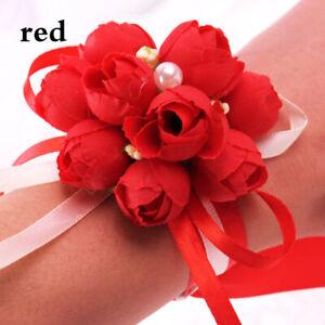 Wrist Corsage Straw Woven Bracelet Bridal Bridesmaid Hand Flowers Wedding Party