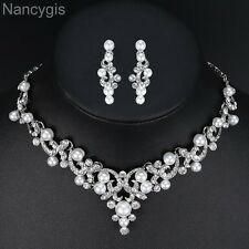 Beautiful Pearl Crystal Necklace and Earrings Bridal Wedding Jewellery Set