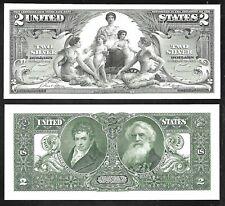 Bep Preuve Imprimés De US 2 Dollar 1896 Argent Cert Visage Et Arrière - Complet