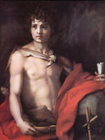 Oil painting Andrea del Sarto - St. John the Baptist - Nude young man canvas art