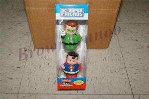 Fisher Price Little People DC Super Friends Figures Green Lantern Superman 2 Pk