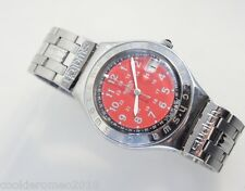 Swatch Happy Joe Red Usa YGS408D Men's Watch Red Dial Analog Steel Band