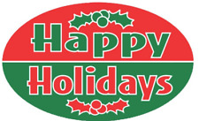 """1.25"""" x 2"""" Happy Holidays green & red Labels 500 Per Roll Great Stickers"""