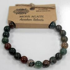 Moss Agate Natural 8mm GEMSTONE Elasticated Bracelet Chakra Healing Stones
