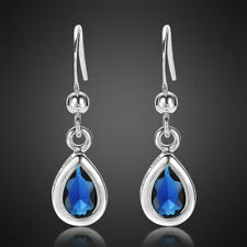 Fashion Jewelry Lady Pear Cut Blue Sapphire White Gold Plated Dangle Earrings Nr