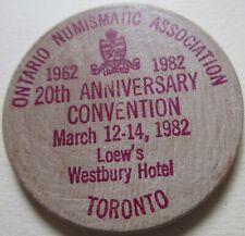 1982 ONA CONVENTION TORONTO SPECIAL LUNCHEON TO LOUISE GRAHAM WOODEN TOKEN K577