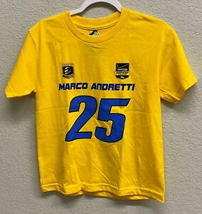 Indycar Marco Andretti 25 T-Shirt Youth Size Medium (12-14) Yellow