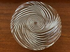 Heavy vintage European Scandinavian swirl glass cake serving platter 32.5cm