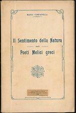 Il sentimento della Natura nei Poeti Melici greci Campanella Mario Devoto 1923