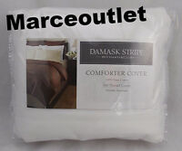 CHARTER CLUB 500 Thread Count Damask Stripe FULL / QUEEN Duvet Cover White